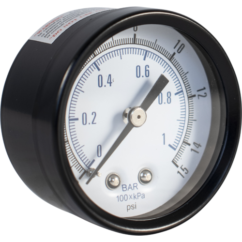 Pressure Gauge (Back Mount) - Low Pressure (0-15 psi)