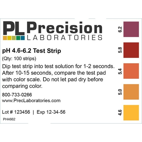 pH Paper - 4.6 to 6.2 (100 Strips)