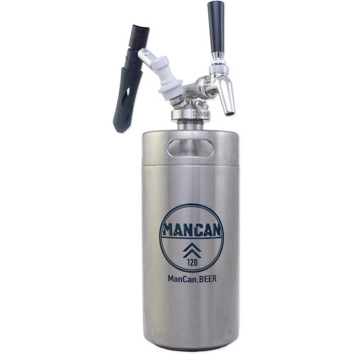 ManCan Mini Keg Growler Serving System (Stainless Steel) - 128 oz. Machismo