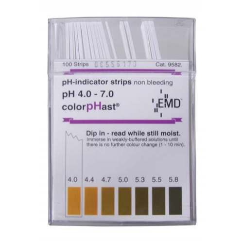 ColorpHast pH Strips - 4.0 to 7.0 (100 Strips)