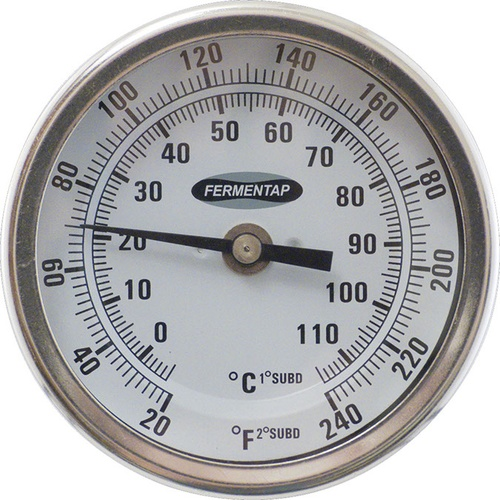 Fermentap Dial Thermometer 3 In Face X 6 In Probe