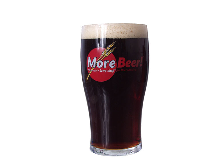 A porter beer in a MoreBeer pint glass