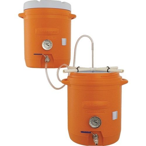 Mash Tun & Hot Liquor Tank All Grain Home Brewing System With Thermometers Installed - 10 gal. Coolers