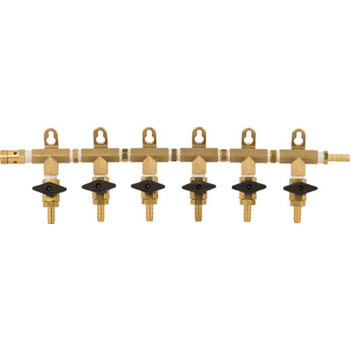 Gas Manifold - 6 Way (Brass)