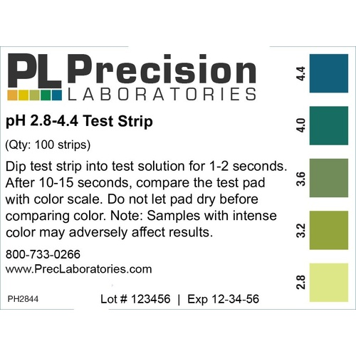 pH Paper - 2.8 to 4.4 For Wine - Vial of 100 Strips
