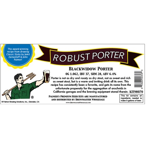 Palmer Premium Beer Kits - Black Widow - Robust Porter