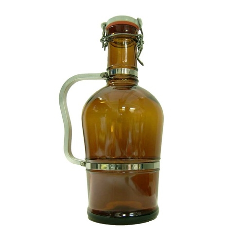 Fancy Widemouth Brown Swing Top Growler - 2 L